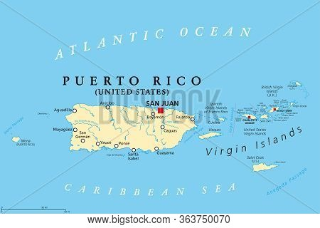 Puerto Rico And Virgin Islands, Political Map. British, Spanish And United States Virgin Islands. Br