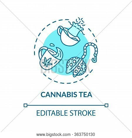 Cannabis Tea Concept Icon. Marijuana Plant Decoction, Herbal Brew Idea Thin Line Illustration. Drink