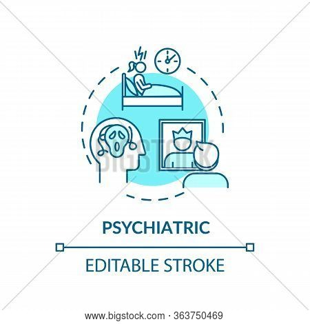 Psychiatric Concept Icon. Cannabis Caused Mental Disorders Idea Thin Line Illustration. Panic Attack