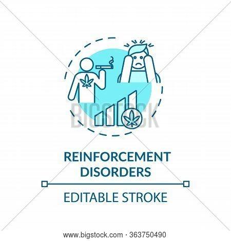 Reinforcement Disorders Concept Icon. Cannabis Abuse Problem, Drug Addiction Idea Thin Line Illustra