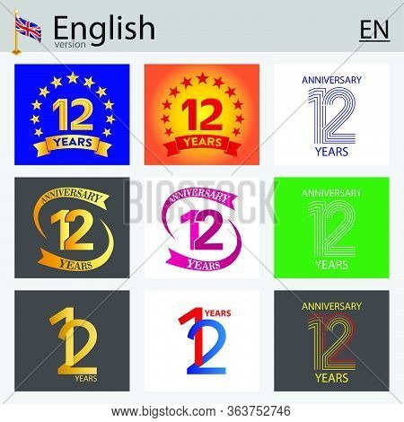 Set Of Number Twelve Years (12 Years) Celebration Design. Anniversary Vector Number Template Element