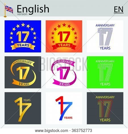Set Of Number Seventeen Years (17 Years) Celebration Design. Anniversary Vector Number Template Elem