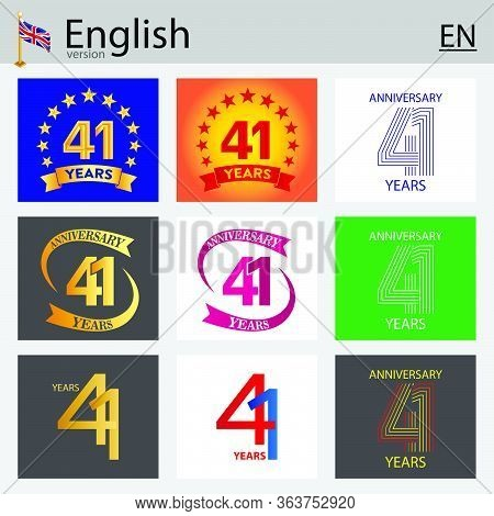 Set Of Number Forty-one Years (41 Years) Celebration Design. Anniversary Vector Number Template Elem