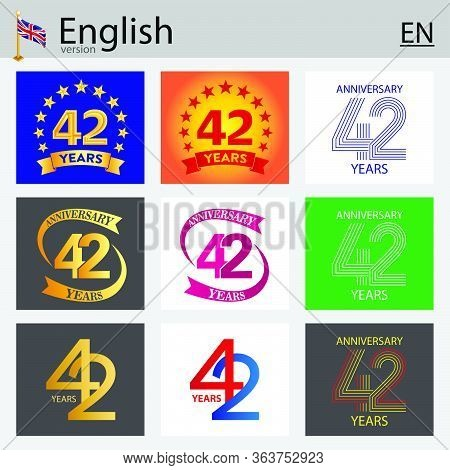 Set Of Number Forty-two Years (42 Years) Celebration Design. Anniversary Vector Number Template Elem