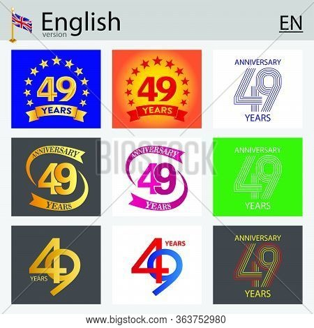 Set Of Number Forty-nine Years (49 Years) Celebration Design. Anniversary Vector Number Template Ele