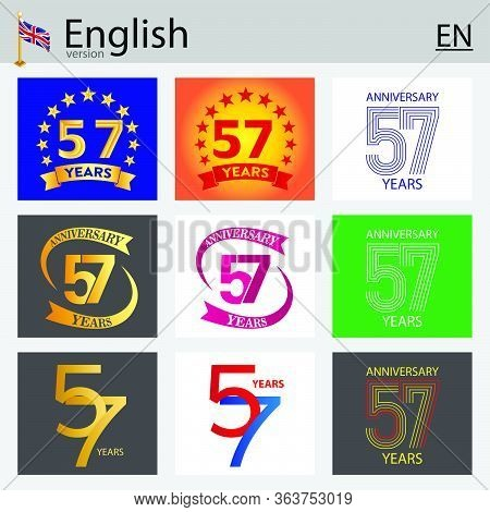 Set Of Number Fifty-seven Years (57 Years) Celebration Design. Anniversary Vector Number Template El