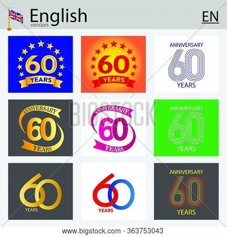 Set Of Number Sixty Years (60 Years) Celebration Design. Anniversary Vector Number Template Elements