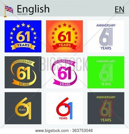 Set Of Number Sixty-one Years (61 Years) Celebration Design. Anniversary Vector Number Template Elem