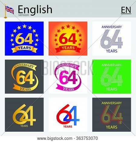 Set Of Number Sixty-four Years (64 Years) Celebration Design. Anniversary Vector Number Template Ele