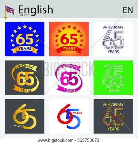 Set Of Number Sixty-five Years (65 Years) Celebration Design. Anniversary Vector Number Template Ele