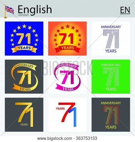 Set Of Number Seventy-one Years (71 Years) Celebration Design. Anniversary Vector Number Template El