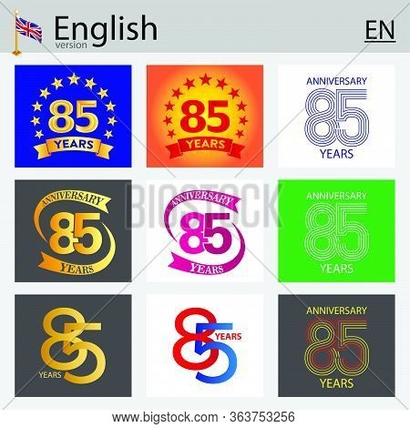Set Of Number Eighty-five Years (85 Years) Celebration Design. Anniversary Vector Number Template El