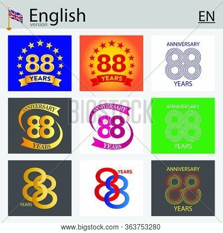 Set Of Number Eighty-eight Years (88 Years) Celebration Design. Anniversary Vector Number Template E