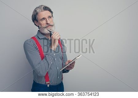 Portrait Of His He Nice Attractive Smart Clever Creative Brainy Well-dressed Focused Man Creating Bu