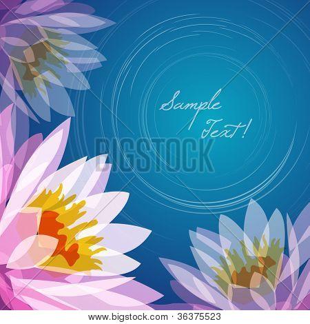 Lotus flower lake background, vector