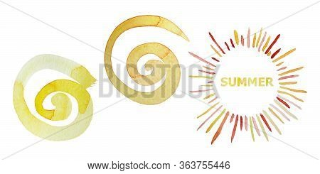 Set Of Three Sun. Watercolor Summer Background. Bright Hand Drawn Sun With Beams And Spiral Sun. Iso
