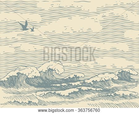 Vector Decorative Seascape In Retro Style With Waves, Seagulls And Clouds In The Sky. Hand-drawn Ill