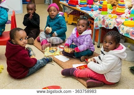 Young African Kids At Small Creche Daycare Preschool