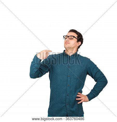 Portrait Of Contented And Arrogant Businessman, Proud Of Himself, Points Index Finger To Him, Cocksu