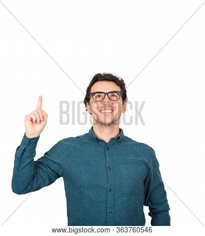 Contented Businessman, Pointing Forefinger Looking Up Satisfied, Isolated On White Background With C