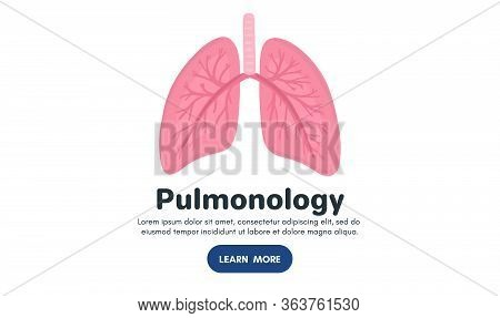 Vector Healthy Human Lungs. Background For Label, Advertisement Of Pulmonary Medicine, Landing Page