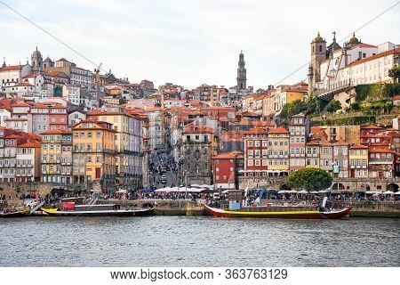 Porto, The Ribeira District, Portugal Old Town Ribeira View With Colorful Houses, Traditional Facade