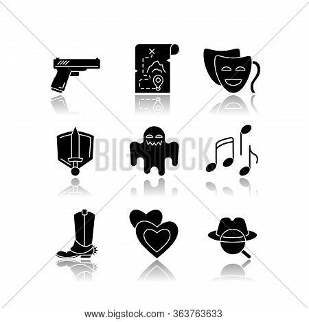 Different Movie Styles And Genres Drop Shadow Black Glyph Icons Set. Popular Film And Tv Show Types.