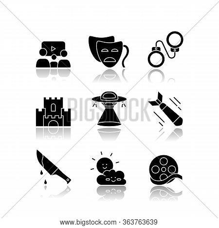 Movie Categories Drop Shadow Black Glyph Icons Set. Different Film Types, Popular Cinema Genres. Com