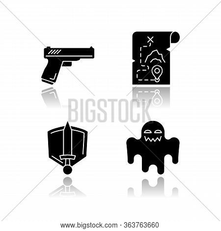 Common Movie Genres Drop Shadow Black Glyph Icons Set. Action Flicks, Adventure, History Epic And Ho