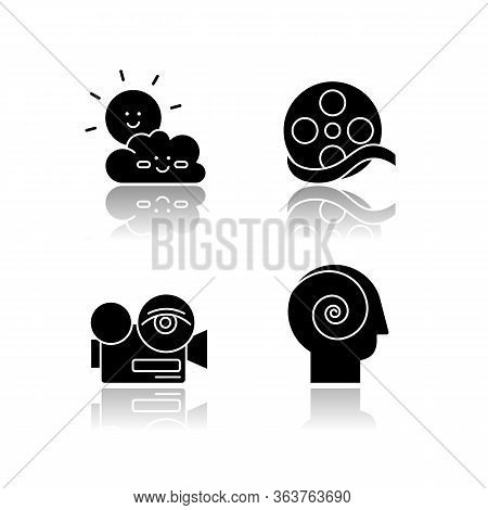 Movies And Tv Genres Drop Shadow Black Glyph Icons Set. Children Cartoons, Documentary, Arthouse And