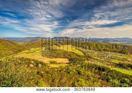 View From The Klapy Hill, Nature Reserve Near Povazska Bystrica Town In Northwestern Slovakia, Europ