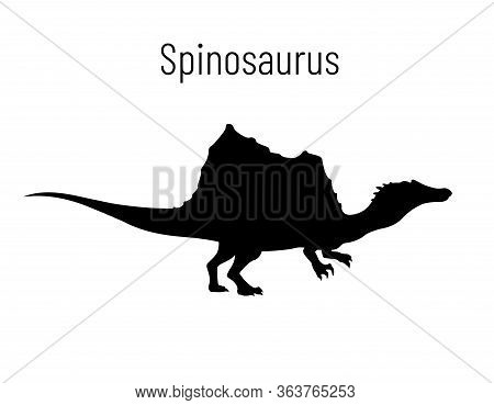 Spinosaurus. Theropoda Dinosaur. Monochrome Vector Illustration Of Silhouette Of Prehistoric Creatur