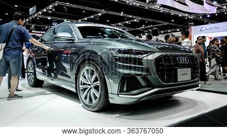 The Front Grilled Of Silver Audi Q8 55 Tfsi Quattro Showcase At Thailand Motor Expo 2019