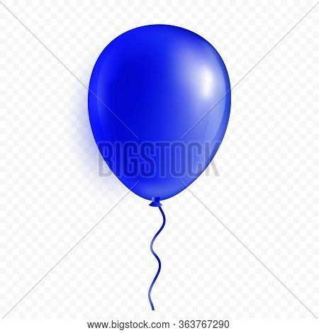 Single Glossy Helium Balloon Isolated On White Background. Premium Vector Illustration.