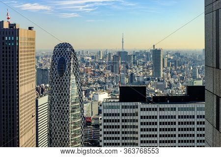 Tokyo, Japan - January 16 2019: A High View Of Tokyo From The Observatory Deck, Tokyo Metropolitan G