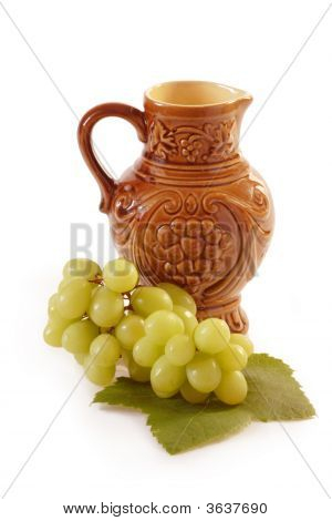 Wine Jug With Grapes