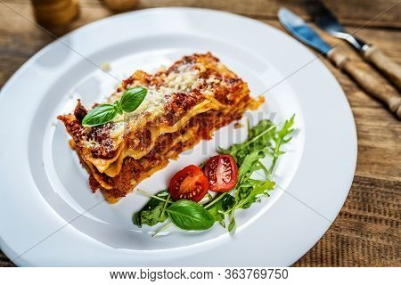 Traditional Italian Pasta Lasagne With Minced Meat, Tomato And Parmesan Cheese