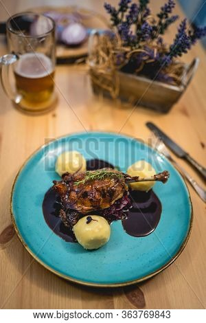 Roasted Duck Leg With Red Cabbage And Dumplings