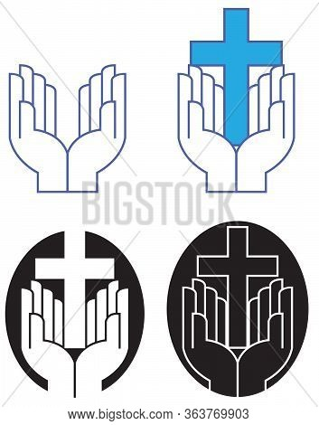 Graphic Design Of Pair Of Praising Hands At Worship With Iconic Christian Cross. Art Presented In Fo