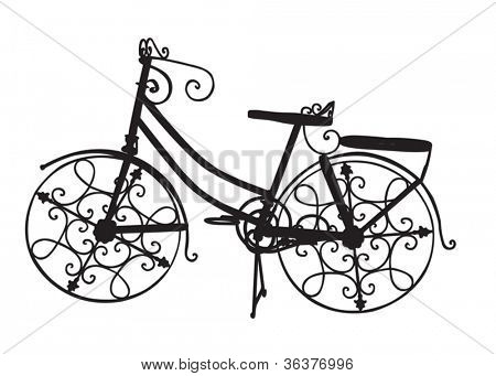 Ornate Ornamental Bike as a Black Silhouette