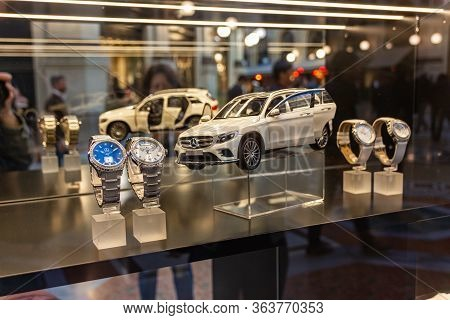 Milan, Italy, September 29, 2015 : The Storefront Of The Mercedes Company In The Interior Of The Gal