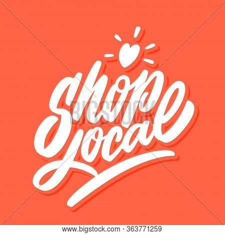 Shop Local. Vector Hand Drawn Lettering Banner.