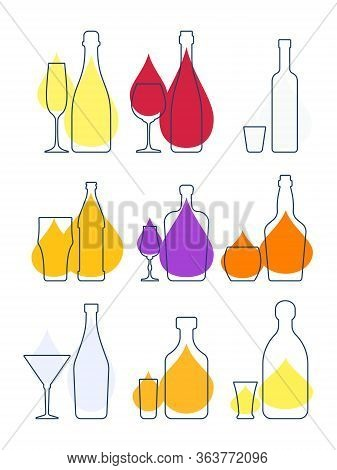 Collection Bottle Alcoholic Drinks. Illustration Isolated. Flat Design Style With Drop Color Fill. B