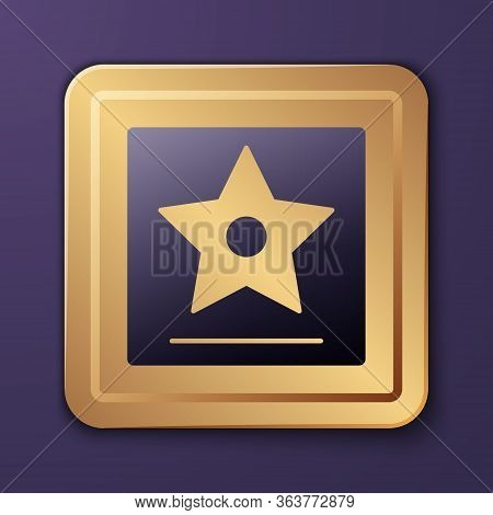 Purple Hollywood Walk Of Fame Star On Celebrity Boulevard Icon Isolated On Purple Background. Famous