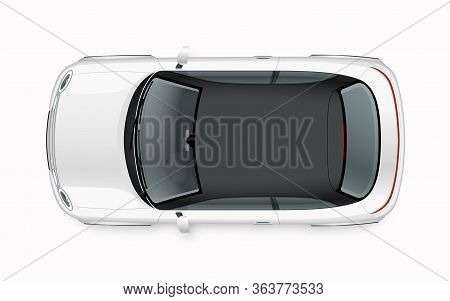 Modern Compact City Car Mockup. Top View Of Realistic Small White Noname Car Isolated On White Backg