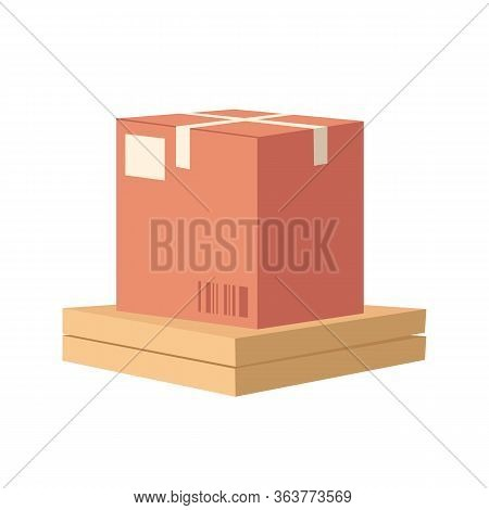 Stack Of Packages Semi Flat Rgb Color Vector Illustration. Goods And Foods Home Delivery. Postal Shi