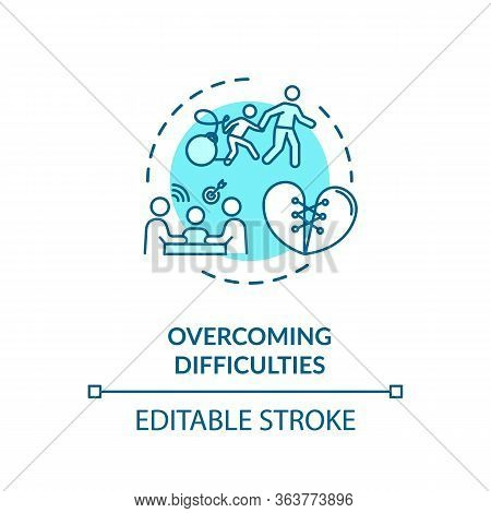 Overcoming Difficulties Concept Icon. Parents Helping Kid. Family Emotional Support Idea Thin Line I