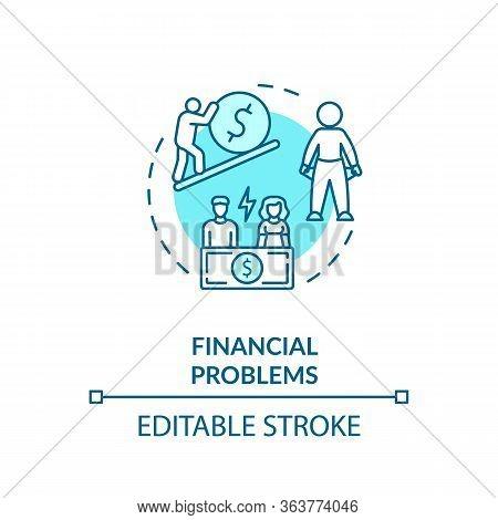 Financial Problems Concept Icon. Lack Of Money Idea Thin Line Illustration. Economic Crisis And Unem