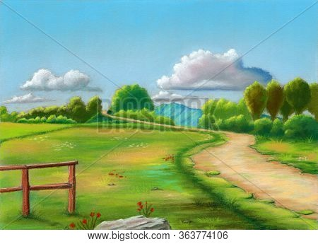 Rural landscape during spring. Original pastel illustration on sanded paper.