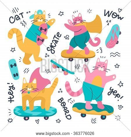 Set Of Cat Skateboarders And Different Skateboards. Vector Flat Illustration Isolated On A White Bac